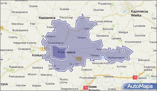 gmina Proszowice - powiat proszowicki na mapie Targeo