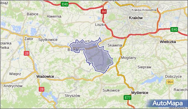 gmina Skawina - powiat krakowski na mapie Targeo