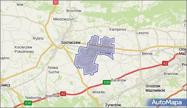 gmina Teresin - powiat sochaczewski na mapie Targeo