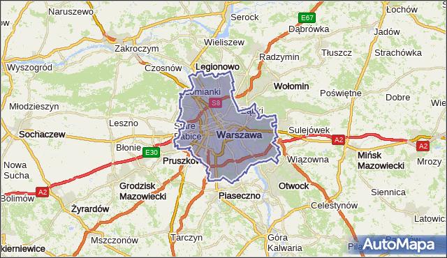 gmina Warszawa - powiat Warszawa na mapie Targeo