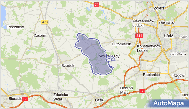 gmina Wodzierady - powiat łaski na mapie Targeo