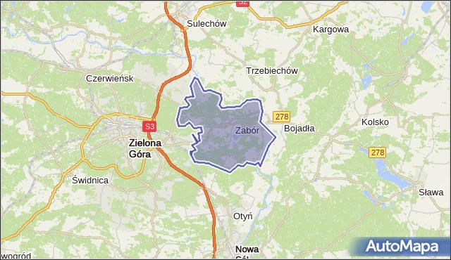 gmina Zabór - powiat zielonogórski na mapie Targeo