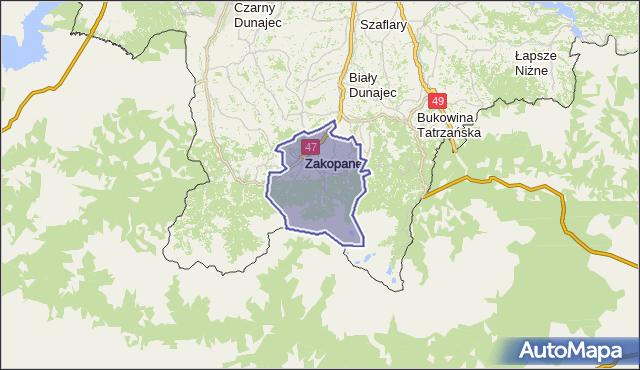 gmina Zakopane - powiat tatrzański na mapie Targeo