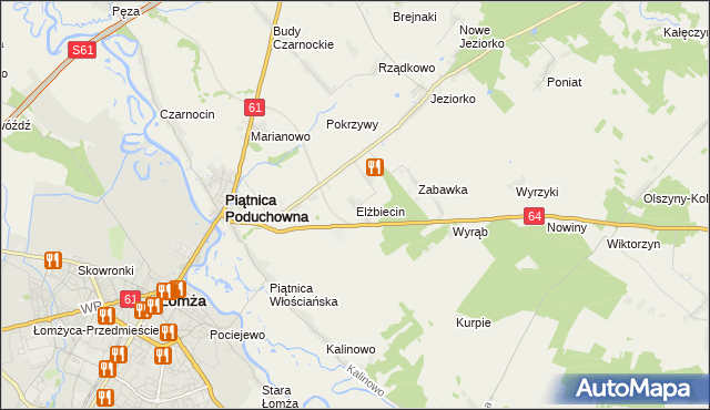 mapa Elżbiecin gmina Piątnica, Elżbiecin gmina Piątnica na mapie Targeo
