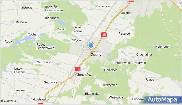 mapa Zduny, Zduny powiat krotoszyński na mapie Targeo