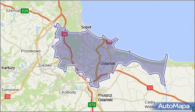 powiat Gdańsk - województwo pomorskie na mapie Targeo