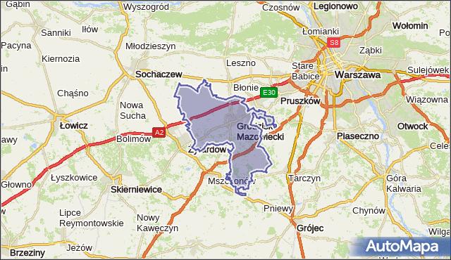 powiat grodziski - województwo mazowieckie na mapie Targeo