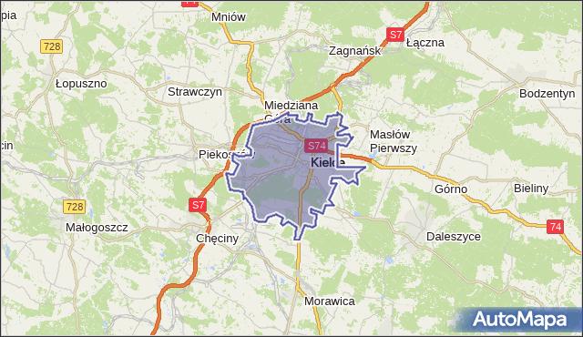 powiat Kielce - województwo świętokrzyskie na mapie Targeo