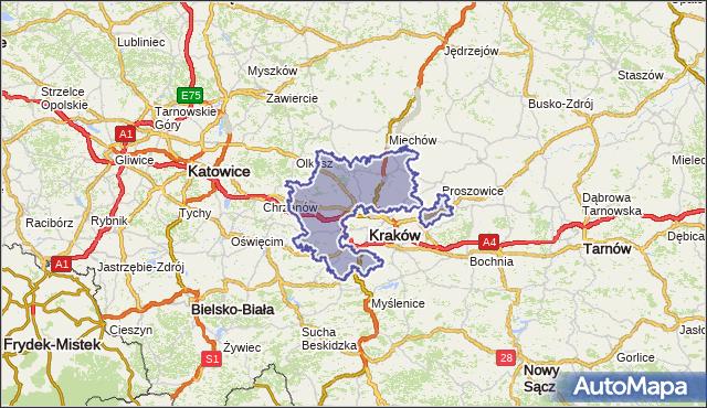 powiat krakowski - województwo małopolskie na mapie Targeo