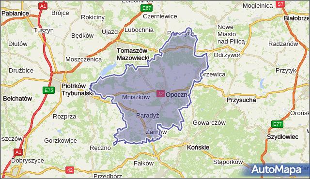 powiat opoczyński - województwo łódzkie na mapie Targeo
