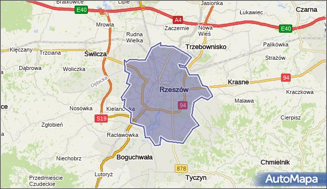 powiat Rzeszów - województwo podkarpackie na mapie Targeo