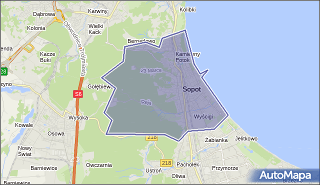 powiat Sopot - województwo pomorskie na mapie Targeo
