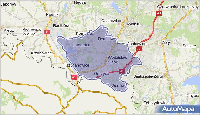 powiat wodzisławski - województwo śląskie na mapie Targeo