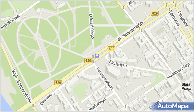Przystanek PARK PRASKI 01. ZTM Warszawa - Warszawa na mapie Targeo