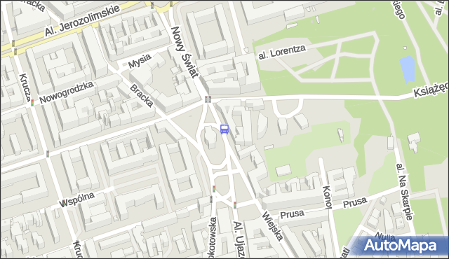 Przystanek pl.Trzech Krzyży 04. ZTM Warszawa - Warszawa na mapie Targeo