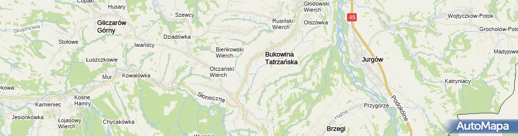 Zdjęcie satelitarne Kościół w Bukowinie Tatrzańskiej