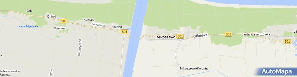 Zdjęcie satelitarne Mikoszewo Ujście Wisły