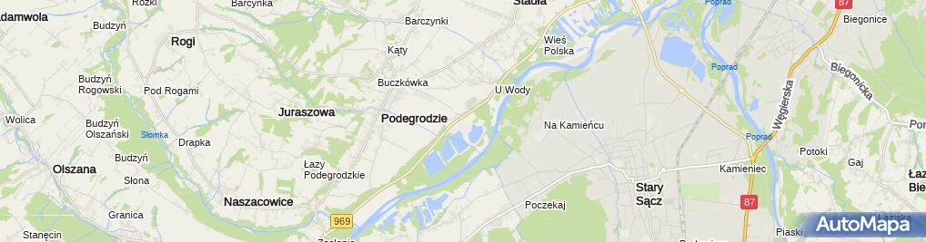 Zdjęcie satelitarne Żwirownia Podegrodzie SZEK S.A.