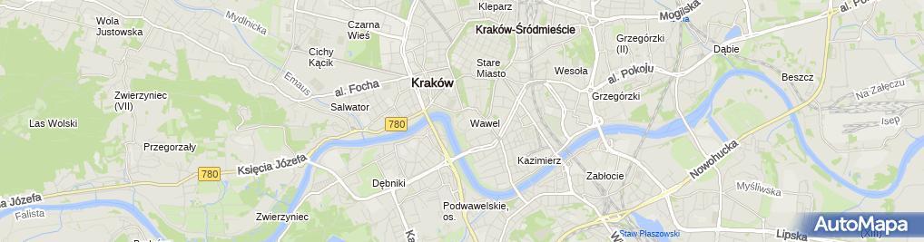 Zdjęcie satelitarne Mur Wawel