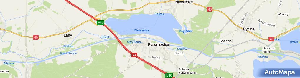 Zdjęcie satelitarne Pławniowice - Kanał Gliwicki