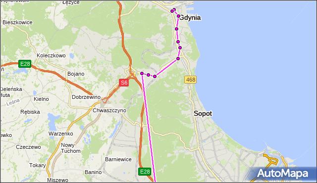 Autobus 510 - trasa - Gdynia Dworzec Gł. PKP. ZKMGdynia na mapie Targeo