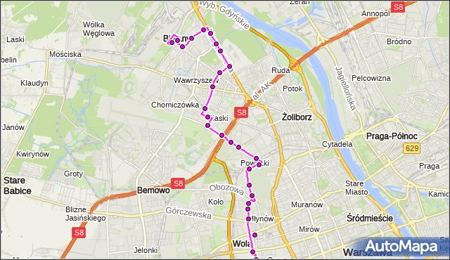 Autobus 103 - trasa DW.ZACHODNI (TUNELOWA) - METRO MŁOCINY. ZTM Warszawa na mapie Targeo
