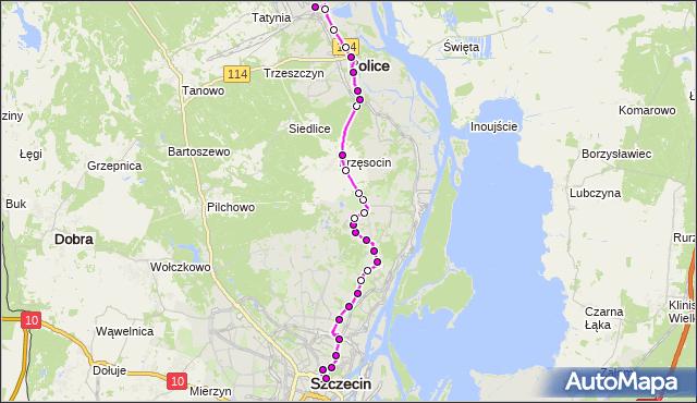 Autobus 101 - trasa Plac Rodła - Police Zakłady Chemiczne. ZDiTM Szczecin na mapie Targeo