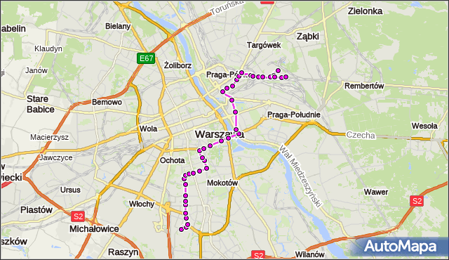 Autobus 138 - trasa BOKSERSKA - UTRATA-SKŁAD. ZTM Warszawa na mapie Targeo