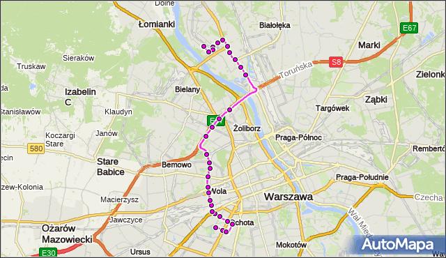 Autobus 186 - trasa SZCZĘŚLIWICE - TARCHOMIN. ZTM Warszawa na mapie Targeo