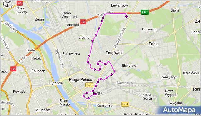 Autobus 140 - trasa DW.WSCHODNI (KIJOWSKA) - CH MARKI MK. ZTM Warszawa na mapie Targeo