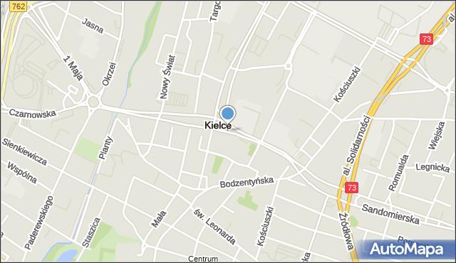 Kielce, Aleja IX Wieków Kielc, mapa Kielc