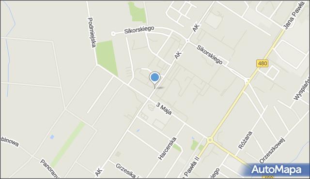 Sieradz, Armii Krajowej, mapa Sieradz
