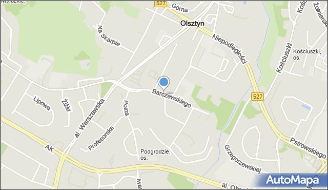 Olsztyn, Barczewskiego Walentego, mapa Olsztyna