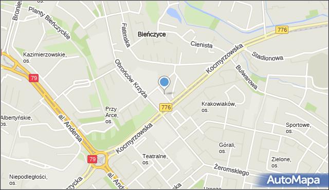 Kraków, Bieńczycki Plac Targowy, mapa Krakowa