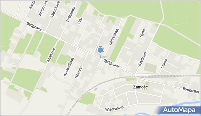 Zamość, Bydgoska, mapa Zamościa