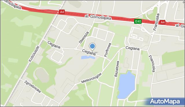 Katowice, Ceglana, mapa Katowic