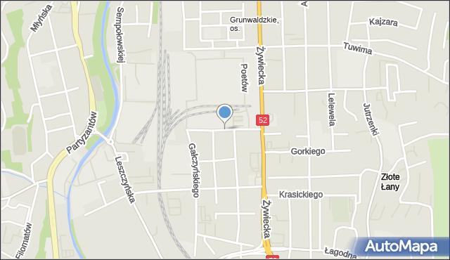 Bielsko-Biała, Chodkiewicza Jana Karola, hetm., mapa Bielsko-Białej