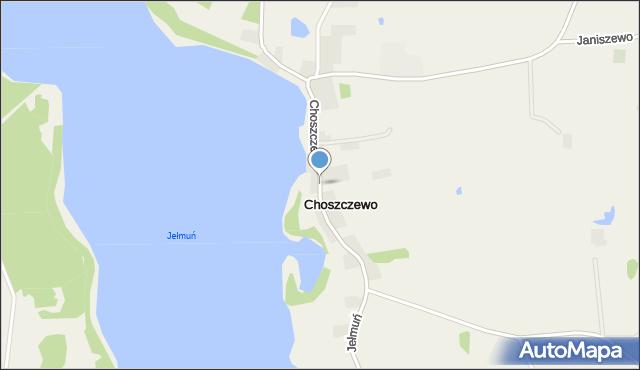 Choszczewo gmina Sorkwity, Choszczewo, mapa Choszczewo gmina Sorkwity
