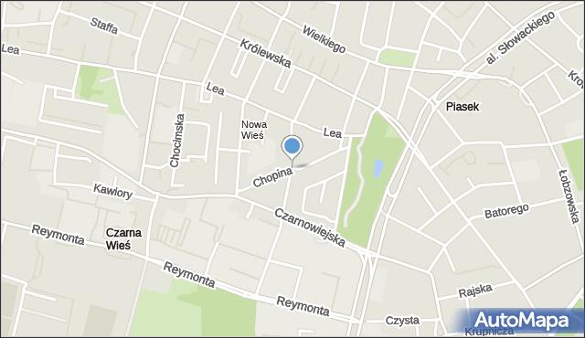 Kraków, Chopina Fryderyka, mapa Krakowa