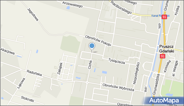 Pruszcz Gdański, Cyprysowa, mapa Pruszcz Gdański