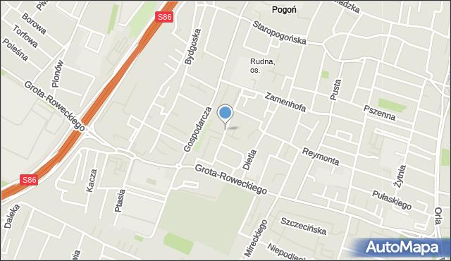 Sosnowiec, Czerwonego Krzyża, mapa Sosnowca