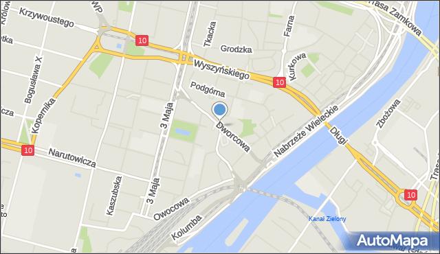 Szczecin, Dworcowa, mapa Szczecina