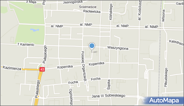 Częstochowa, Gąsiorowskiego Janusza, gen. bryg., mapa Częstochowy