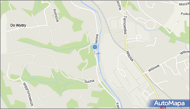 Limanowa, Kamienna, mapa Limanowa