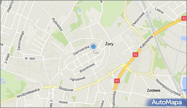 Żory, Kacza, mapa Żor