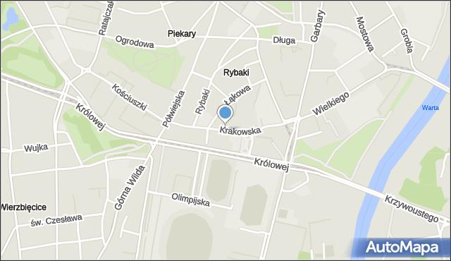 Poznań, Krakowska, mapa Poznania