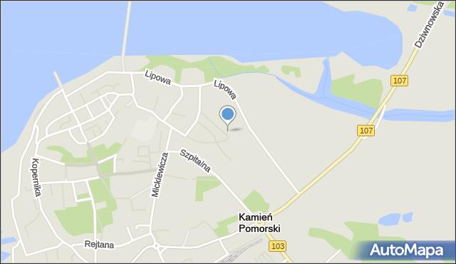 Kamień Pomorski, Księcia Kazimierza I, mapa Kamień Pomorski