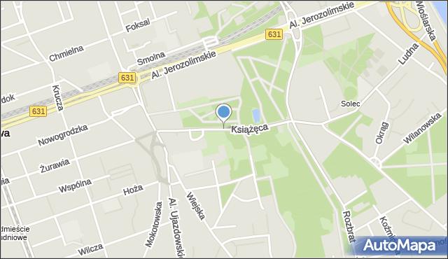 Warszawa, Książęca, mapa Warszawy