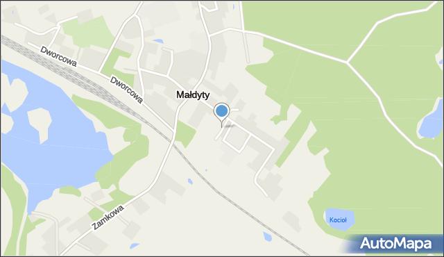 Małdyty, Kwiatowa, mapa Małdyty