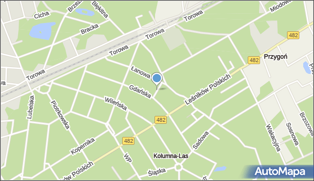 Łask, Leśna, mapa Łask